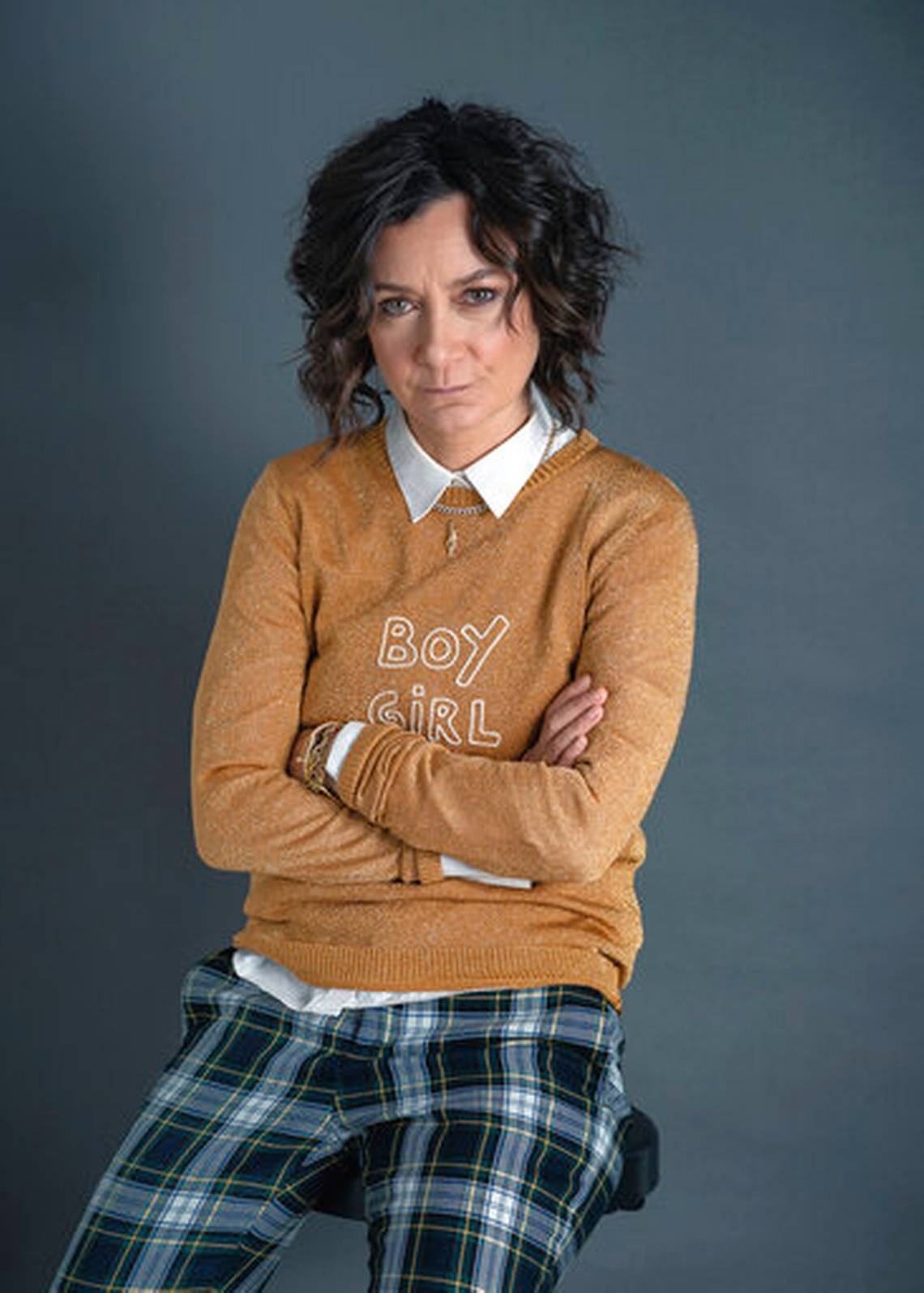 "This Sept. 19, 2019 photo shows actress Sara Gilbert, star of the ABC comedy ""The Conners,"" posing for a portrait in New York. Season two premiers Tuesday at 8 p.m. EST."